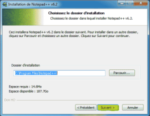 Chemin ou Notepad++ sera installer