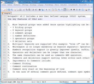 Interface d'utilisation de Notepad++