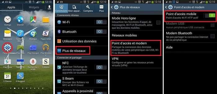 Partager la connexion d'un Smartphone Samsung, Transformer son Smartphone en modem