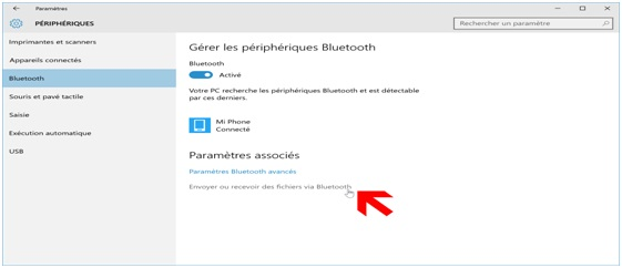 procéder à vos transferts de fichier via bluetooth 1