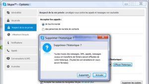 Cliquez sur Supprimer historique Skype