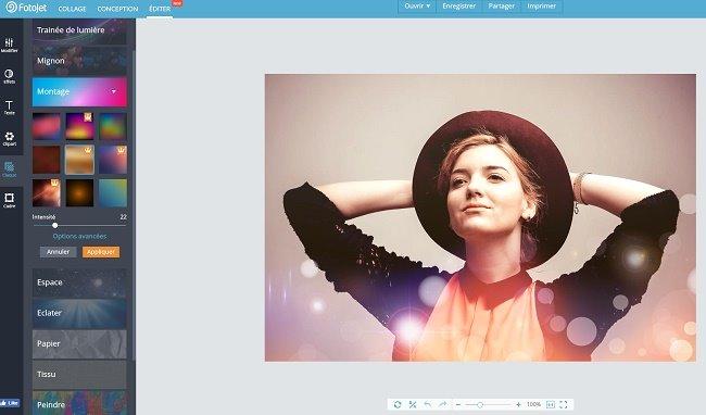 diteur de photos en ligne: effets, texte et autocollants