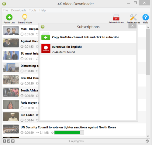 Interface de 4K Video Downloader