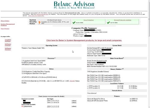 Belarc Advisor logiciel pour surveiller les performances d'un PC