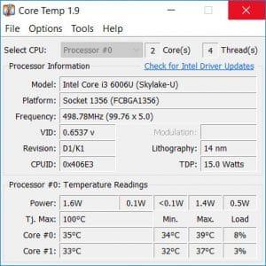 Core Temp pour Windows utilitaire de monitoring