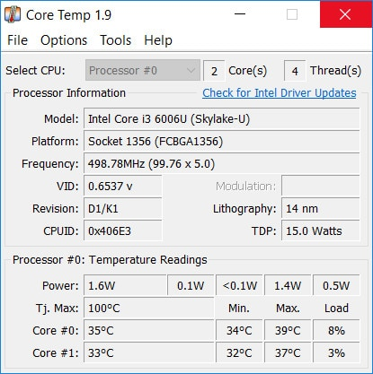 Core Temp pour Windows utilitaire de monitoring