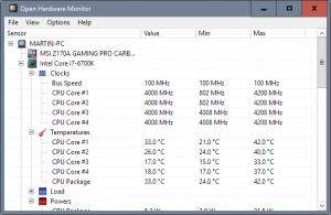 Open Hardware Monitor logiciel gratuit pour surveillance des capteurs de températures, les vitesses de ventilations les tensions