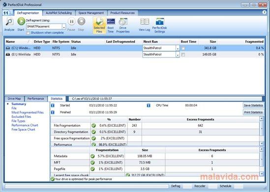 PerfectDisk logiciel gratuit de défragmentation
