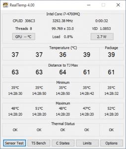 Real Temp programme pour suivre la température