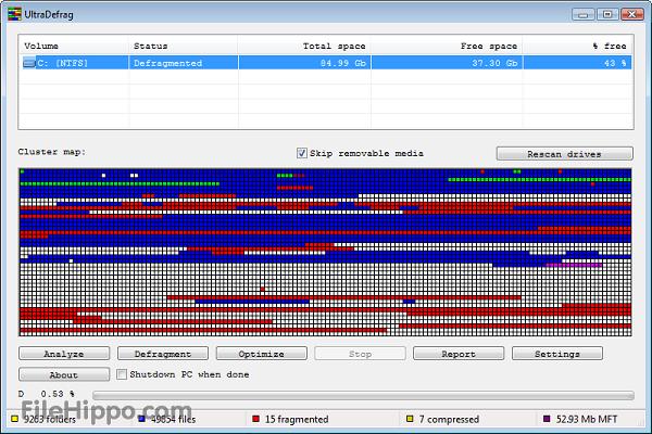UltraDefrag Les meilleurs logiciels de défragmentation de disque dur gratuit