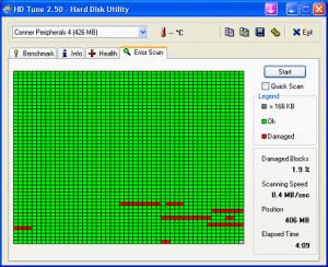 HD Tune logiciel gratuit de réparation de disque dur