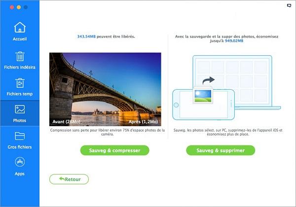 iMyfone Umate Libération d'espaces sur un appareil par la suppression de fichiers volumineux et indésirables
