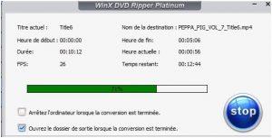 WinX DVD Ripper Platinum Fin de l'opération
