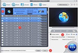 WinX DVD Ripper Platinum La sélection des fichiers et le démarrage de l'opération