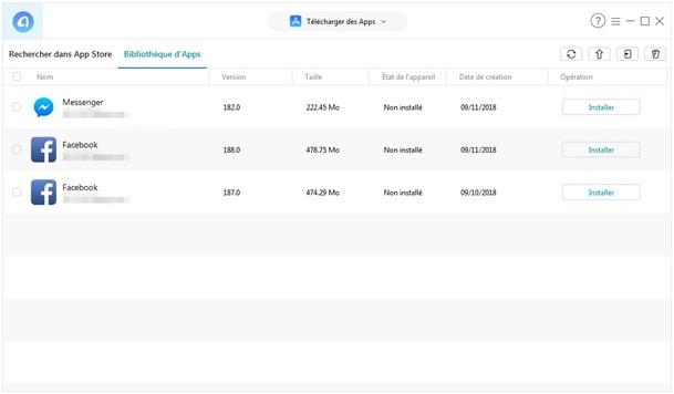 La sélection des applications dans AnyTrans pour iOS