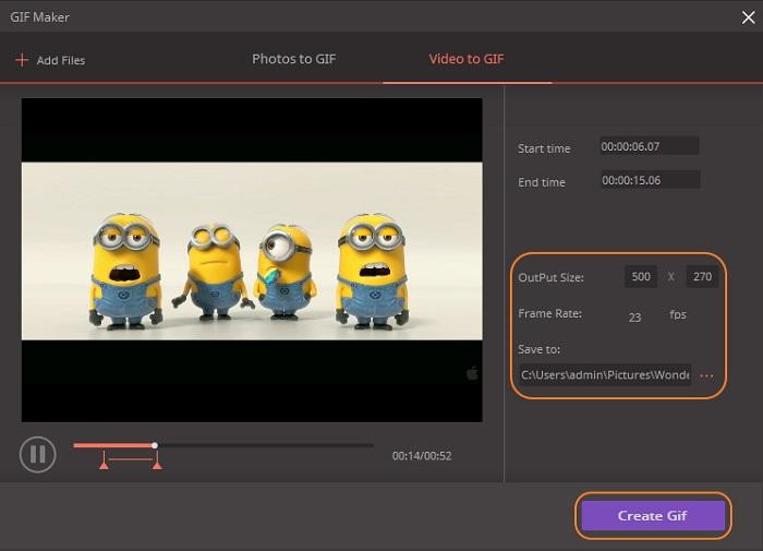 Wondershare Free Video Converter GIF Makerpour réaliser des images ou vidéos en GIF