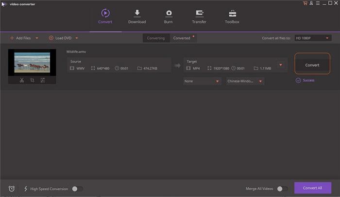 Wondershare Free Video Converter La fonction convertisseur vidéo4K et HD