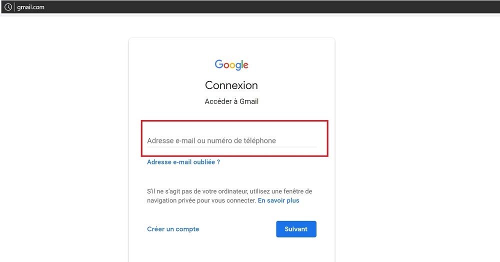 Connectez vous a votre compte Gmail