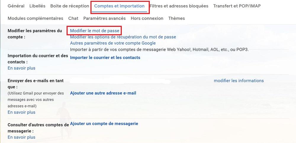 Modifier le mot de passe sur Gmail