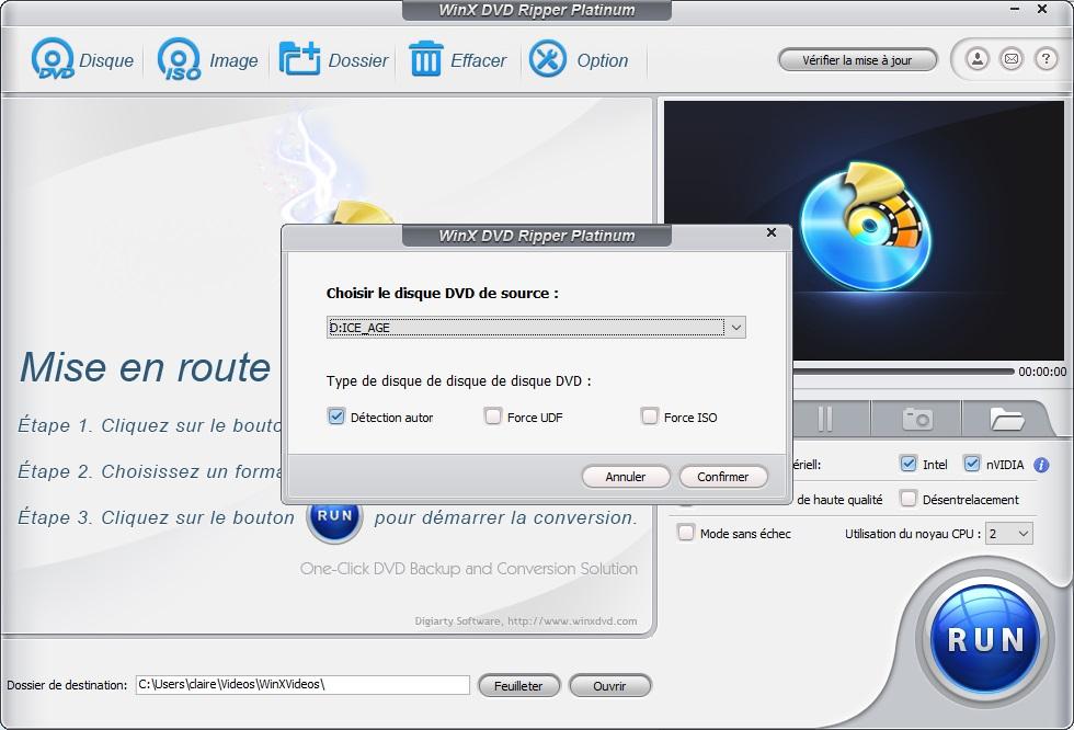 Cliquez à gauche dans le menu du haut surDisque WinX DVD Ripper pro