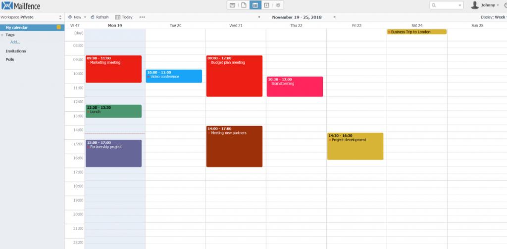 Mailfence Calendar