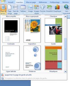 créer une page de garde sur Word sur word 2007