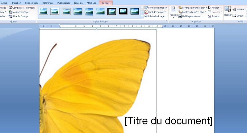 la modification des images page de garde word