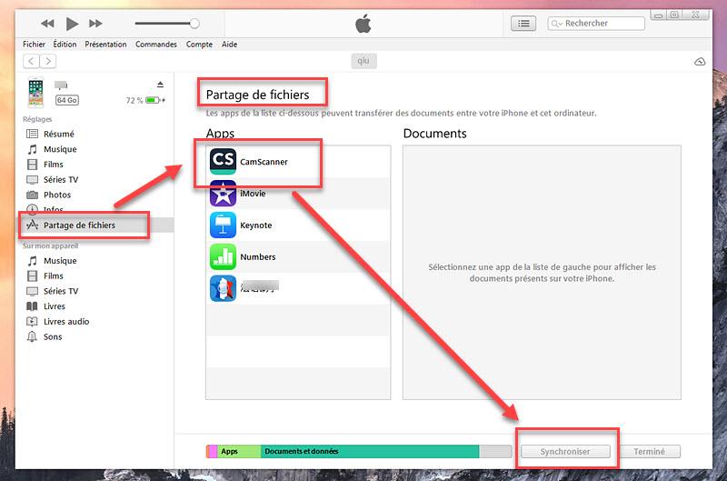 transfert de données iPhone vers un PC avec itunes 2