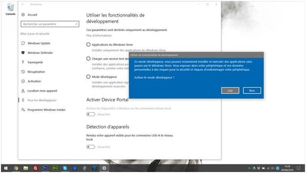 Activer le mode développeur sur Windows 10