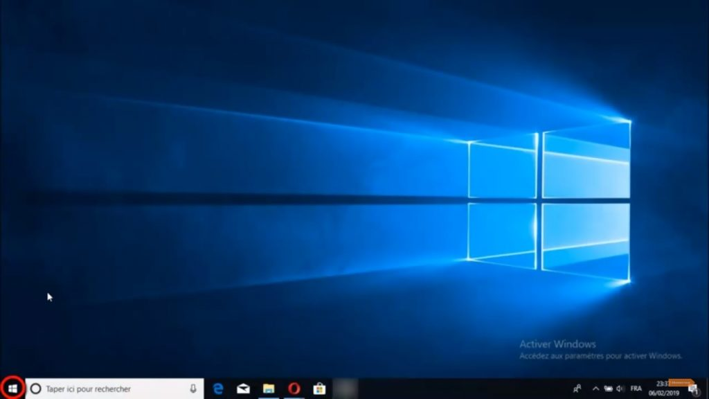 Aller dans le menu Démarrer de Windows 10
