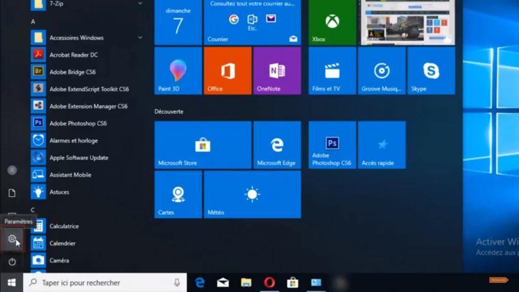 Aller dans les Paramètres de Windows