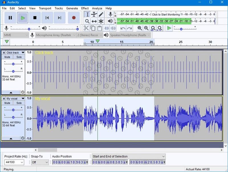 Audacity outils de mixage