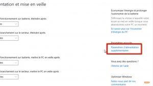 Cliquer sur Paramètres d'alimentation supplémentaires sur Windows