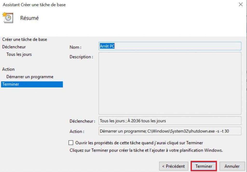 Programmer ou planifier l'arrêt automatique de votre PC sur Windows 10