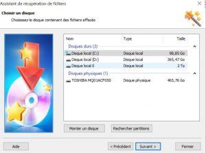 Sélectionner le disque contenant les fichiers à récupérer Hetman Partition Recovery