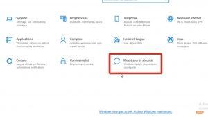cliquer sur Mise à jour et sécurité sur Windows