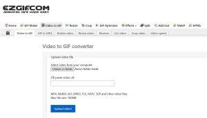 Ezgif convertir des vidéos à GIF