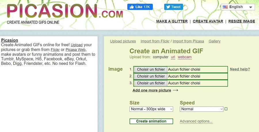 Picasion créer un gif en ligne
