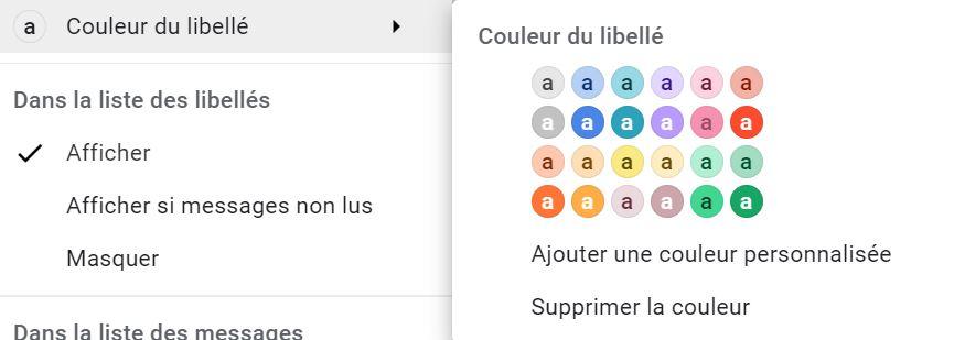 mettre une couleur sur un libellée dans Gmail