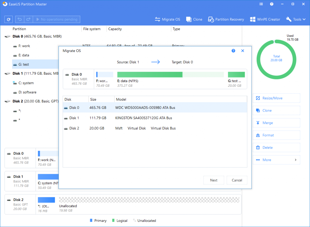 EaseUS Partition Master Free partition manager