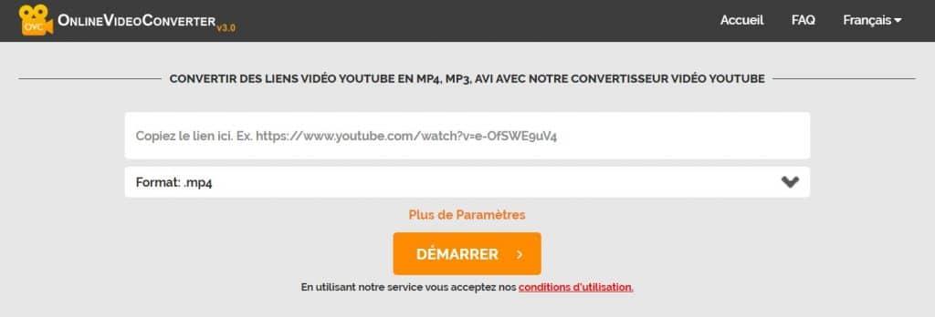 Online Video Converter enregistrer une vidéo youtube