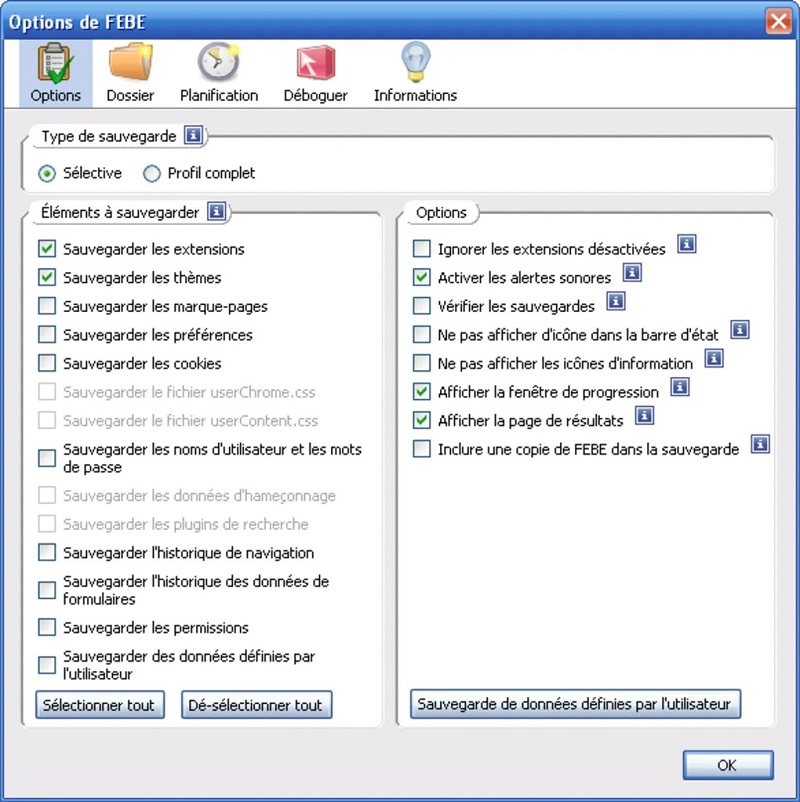 FEBE pour FireFox alternative mozbackup