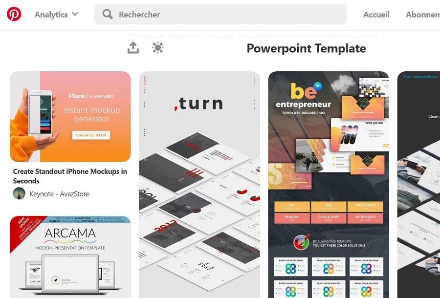 Pinterest thèmes PowerPoint