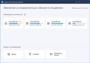 Sélectionnez l'emplacement pour récupérer vos données avec EaseUs Data Recovery Wizar