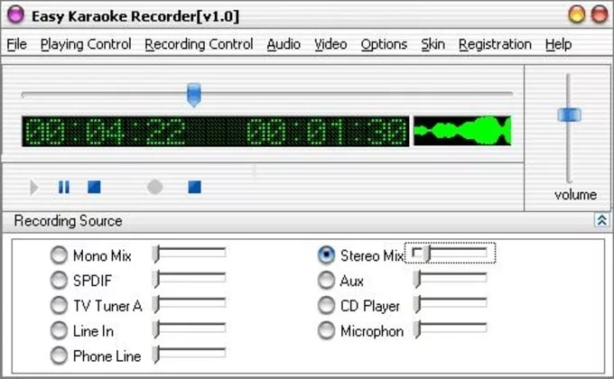 Easy karaoke recorder mixages et volumes d'enregistrement