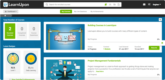 Interface de la plate-forme LMS de LearnUpon