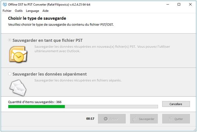 sauvegarder dans un fichier PST