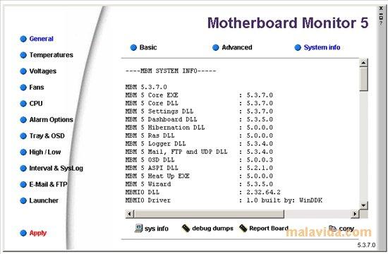 MotherBoard Monitor logiciel surveillance temperature