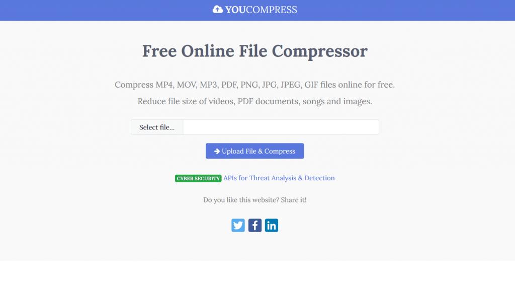 YouCompress compression vidéo