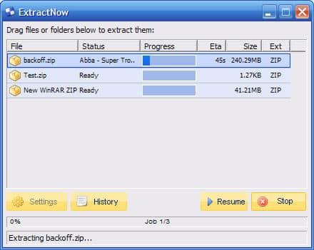ExtractNow décompresser fichier zip
